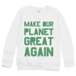 Make our planet great again light green kids sweatshirt