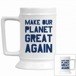Make our planet great again blue stein cup.