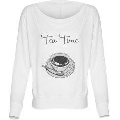 Ladies Flowy Long Sleeve Off The Shoulder Tee