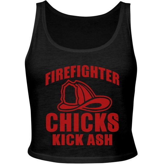 Firefighter Chicks Kick Ash Cropped Tank