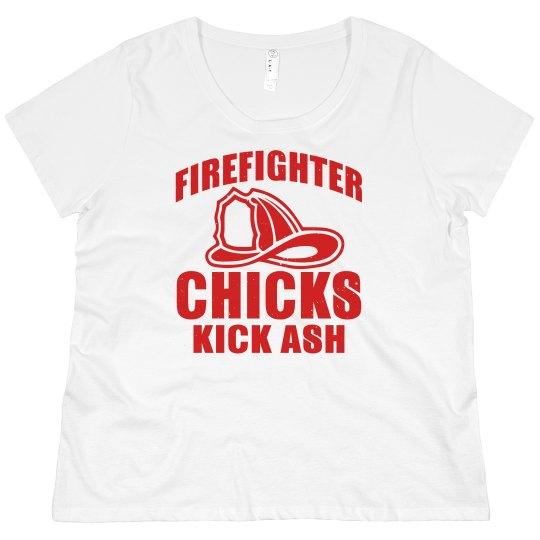Firefighter Chicks Kick Ash Scoop Neck Plus Size Tee