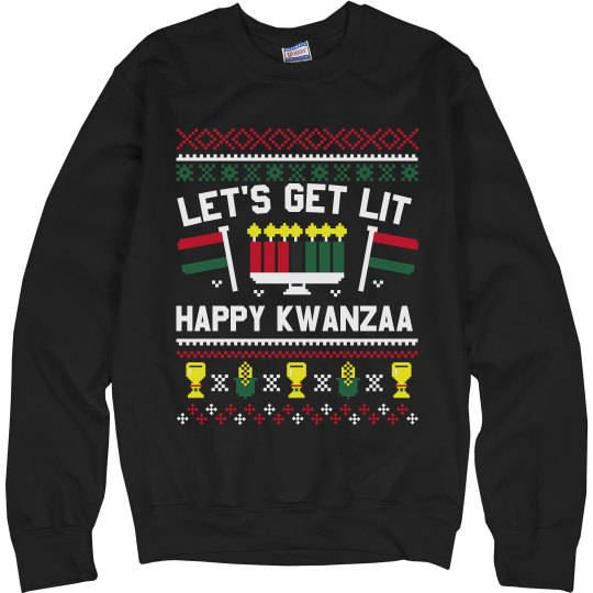 Funny Kwanzaa Get Lit Ugly Sweater