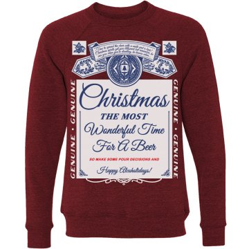 Funny Ugly Sweater Beer Pun Xmas