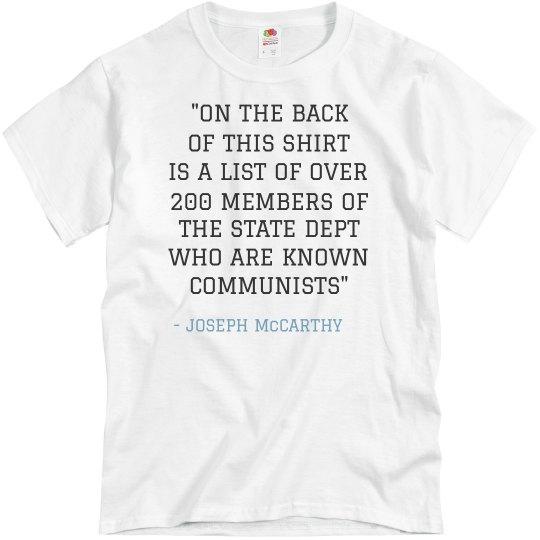 Joseph McCarthy's Known Communists