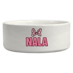 Nala Pink Bow Dog Dish