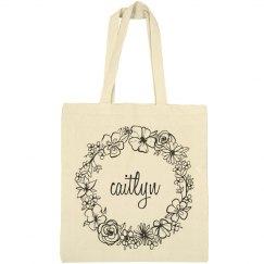 Cute Floral Caitlyn Tote Bag