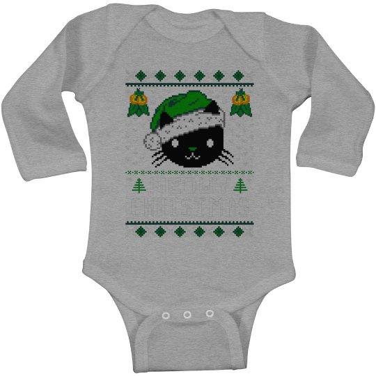 Meowy Christmas Baby Onesie