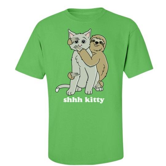 Shhh Kitty Sloth Hug Cat