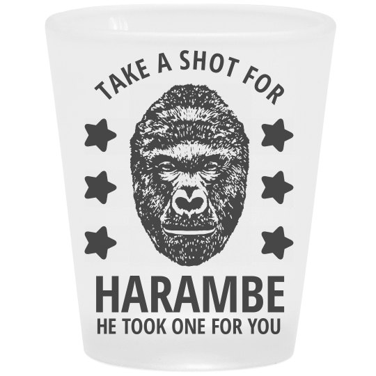 Shot For Harambe Frosted Shot Glass