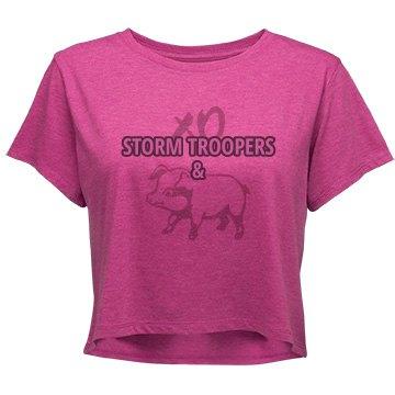 STORM TROOPERS & HAM (junior's crop top pink/charcoal)