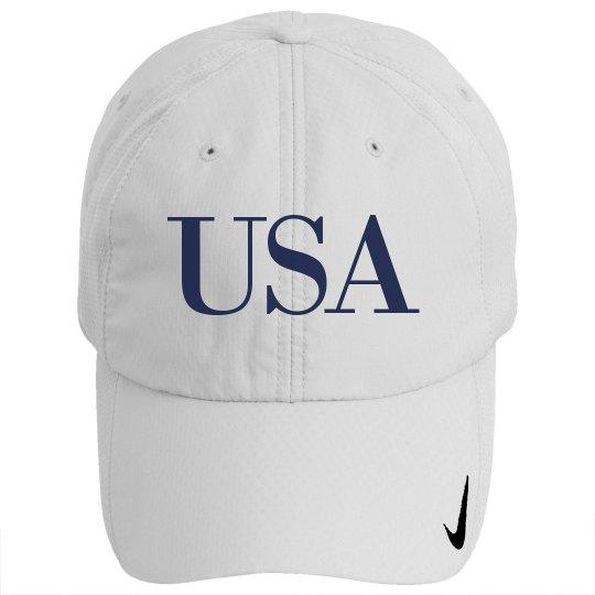 USA White Cap Navy Text