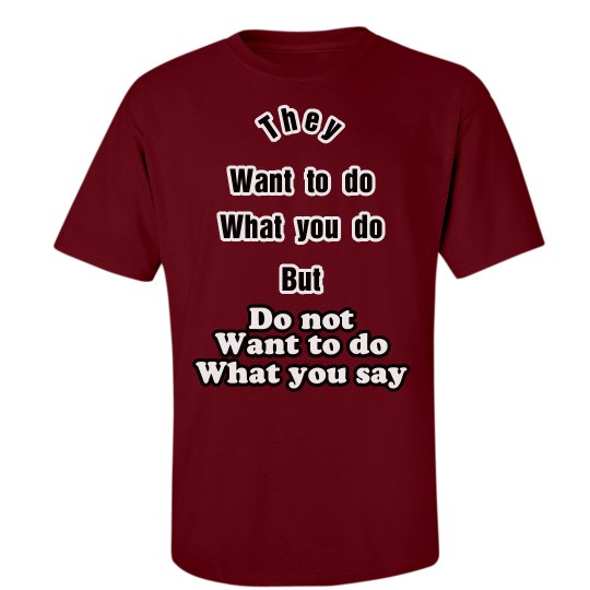 Want to do what you do - do not want to do what you say
