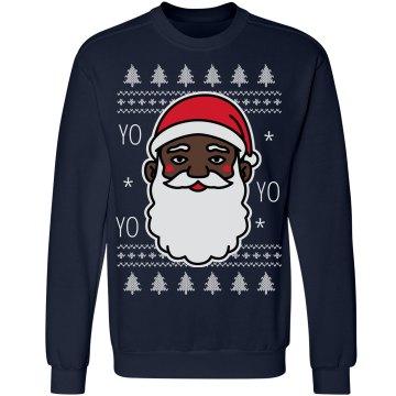 Yo Yo Yo Black Santa Sweater
