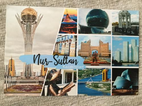 Multi-view postcard from Kazakhstan, featuring monuments