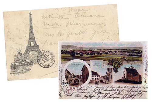 Postcards with illustration vignettes