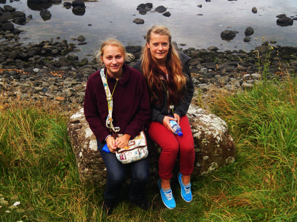 Maybrit (left) and Anna (right) at the Giant's Causeway