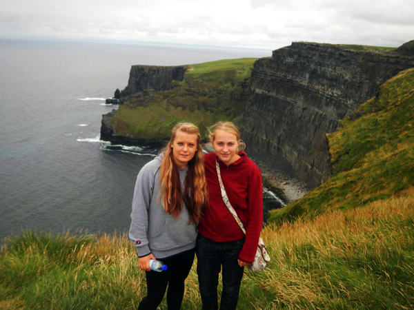 Anna (left) and Maybrit (right) at the Cliffs of Moher