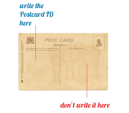 where should you write the postcard id