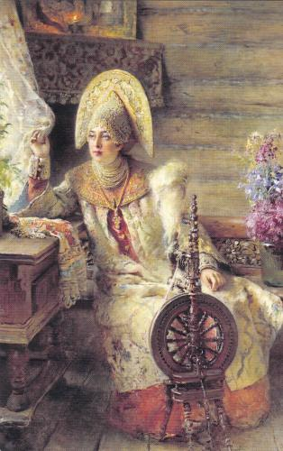Beautiful card from Russia. Boyaryshnya at the Window. 