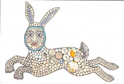 """Zest Bunny Babe"" 2009, recycled china mosaic"