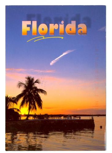 FLORIDA A beatiful of orange across the Florida sky sets the mood for a glorius evening after sun-filled day in paradise.  (c) PUBLISHED and DISTURBED by The Postcard factory, 2801 John Street, Markham, Ontario L3r 2YB (905) 477-9901 Printed in Canad