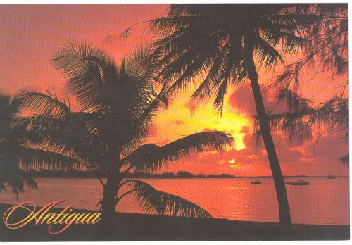 Antigua,West Indies,Tropical island sunset