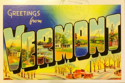 Reprint of vintage large letter state name postcard (1930's-1940's)