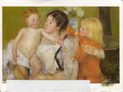 After the Bath (c.1901) by Mary Cassatt (American impressionist, 1845–1926); pastel 64.8 x 99.7 cm; from the Cleveland Museum of Art.