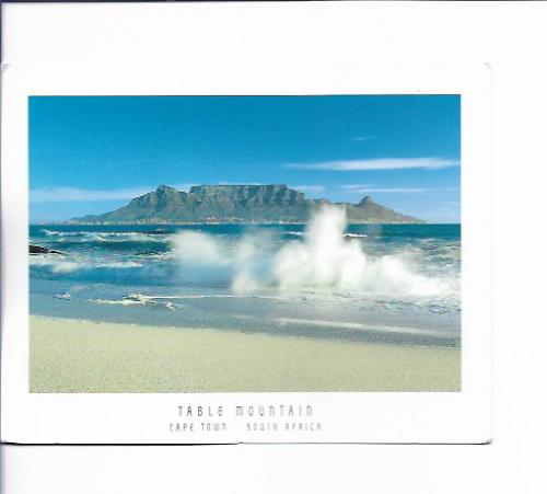 Ria from CapeTown in South Africa send this card of the Table Mountains to me.