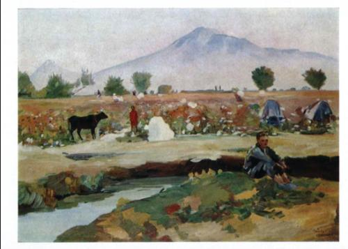 Martiros Saryan, Ararat Valley: Picking cotton, 1949.