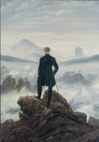 Caspar David Friedrich, Wanderer Above the Sea of Fog.  Thank you, Louise. I love everything about this card:  image, matching stamp and message.