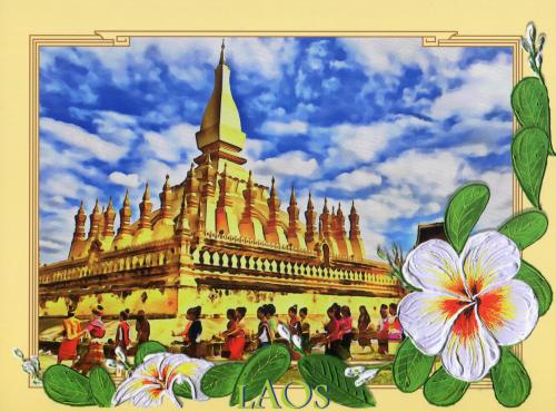 ❤ my first postcard from Laos.. (Great Stupa, national monument)