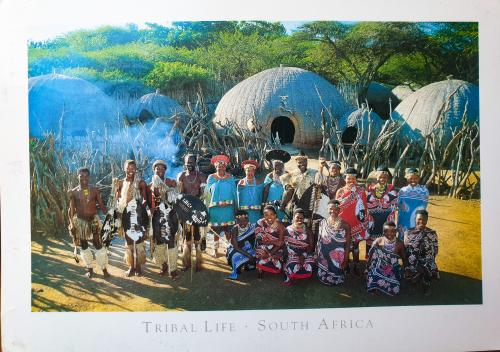 Tribal life. Brilliant traditional Zulu dress against a background of beehive dwellings.