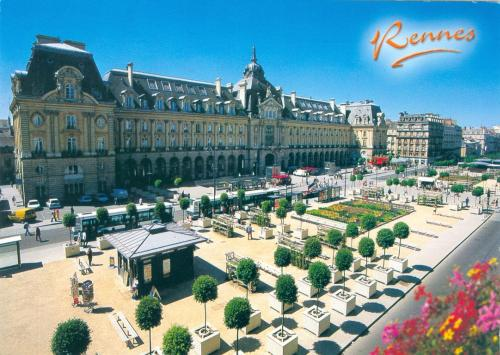 """the place de la Republique and square on the banks of the River Vilaine in Rennes of France""
