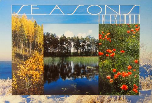This is a lovely multi-view card depicting seasons in Estonia.