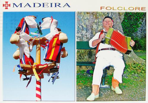 A postcard from Madeira, a Portuguese island, showing the brinquinho (a traditional instrument) and a concertina player! Very interesting! Thank you so much, Denisse!!!