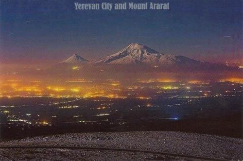 Night view of Yerevan, the capital and largest city of Armenia, located at the Ararat plain.