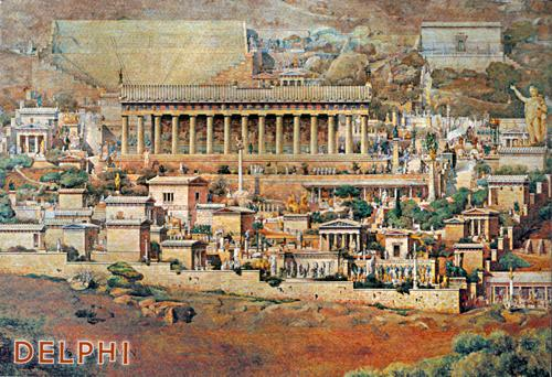 Artist's reconstruction of the sanctuary of Delphi (Greece), by Albert Tournaire, 1894