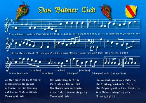 The Badnerlied (Song of the People of Baden) - the unofficial hymn of the former state of Baden, Germany. It is mostly played at soccer home games. Thank you very much, Julian's parents! =)