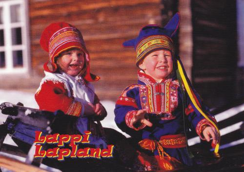 Adorable children in traditional clothing from Lapland.~~