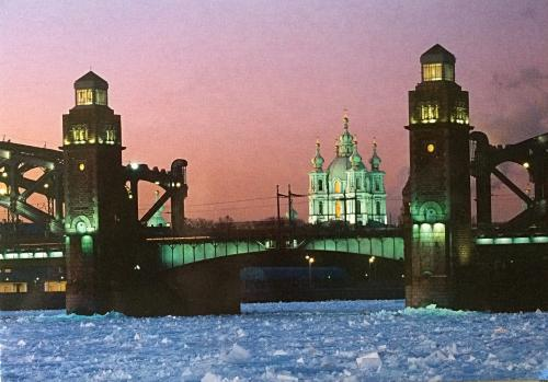View of the Large Okhta Bridge and the Smolny Cathedral