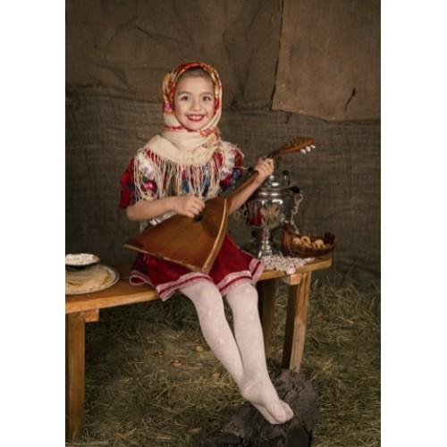 Siberian girl in national costume with balalaika, Russia