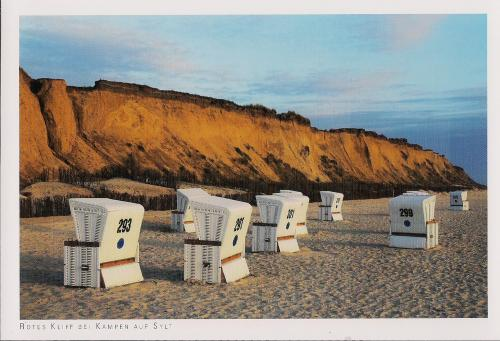 "Number 171, GERMANY. ""Beach Baskets"" on the coast of the North Sea. This is the island Sylt, with famous red cliffs. Thank you, Duesseljin, for this card from my Favorites! August 9, 2013"