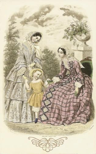 "Image from ""Magasin des Demoiselles"" (July 1, 1853) from the Casey Fashion Plate Collection at Los Angeles Public Library, containing over 6,200 handcolored fashion plates from British and American magazines dating from the 1790s to the 1880s."