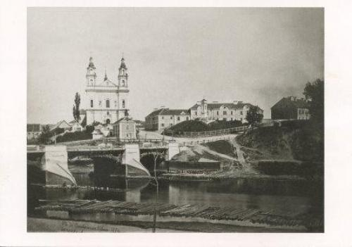 The Green Bridge and the Church of St Raphael in Vilnius (Lithuania)