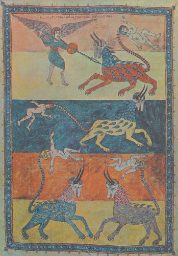 "Page depicting fantastic beastes from the ""Gerona Beatus"", a 10th-century illuminated manuscript currently housed in the museum of Girona Cathedral, Catalonia, Spain.