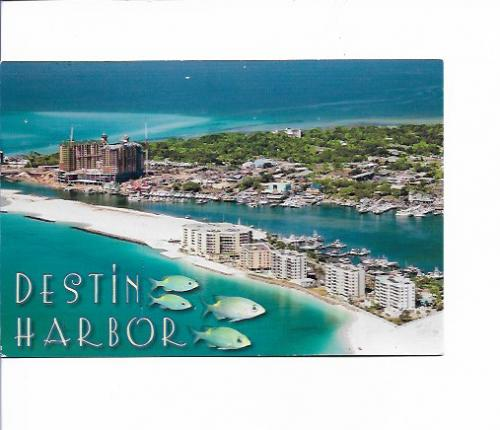 Regina from Birmingham in Alabama, USA send this scenic card of Destin Harbor to me.